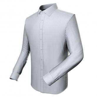 Modisches Businesshemd (weiss-blau fein gestreift)